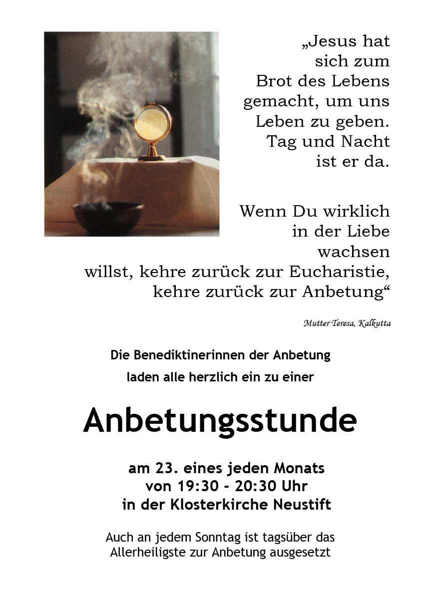 Flyer 23. Anbetung in Neustift
